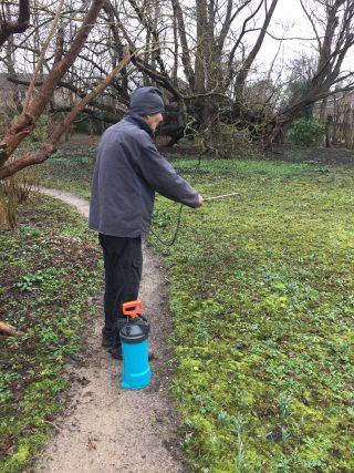 Spraying 'compost tea' at Stinze Stiens.