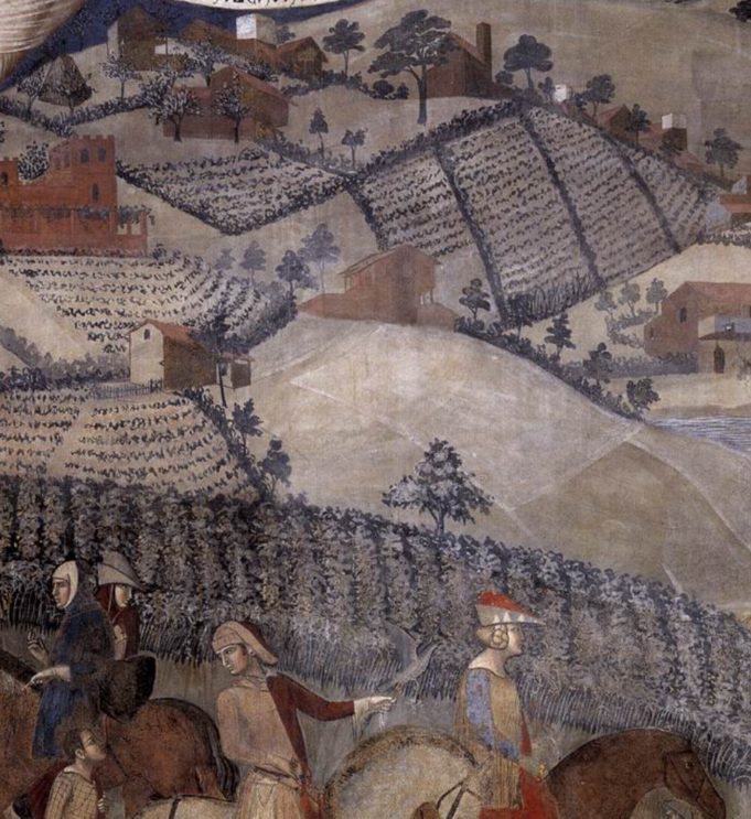 Ambrogio Lorenzetti, Het effect van goed bestuur op het platteland. Fresco . Sienna