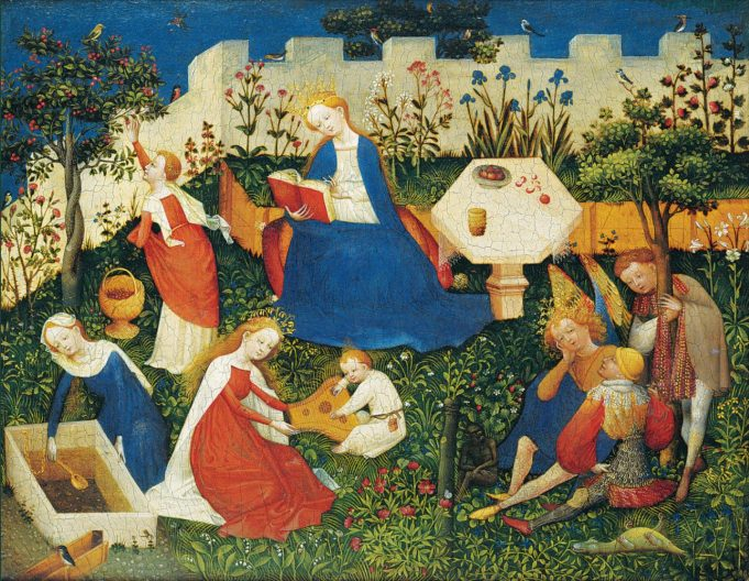 Oberrheinische meister. Das Paradiesgärtlein. 26,3 x 23,4 cm., ca. 1410-1420. Collectie: Städel Museum, Frankfurt am Main (Bruikleen Historisches Museum, Frankfurt am Main).