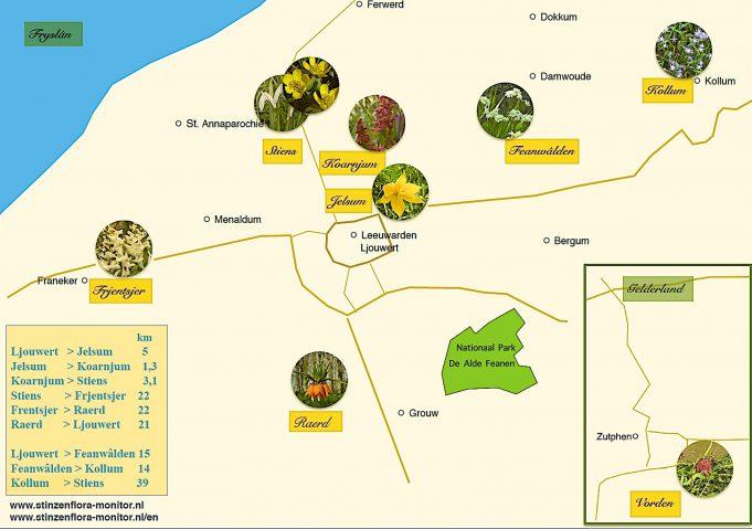 Routekaart Stinzenflora-monitor. Klik op afbeelding om te vergroten.